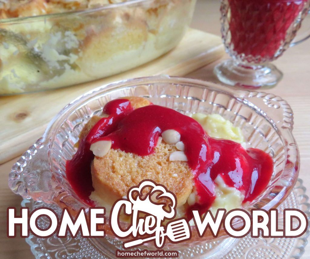 white chocolate bread pudding with raspberry sauce