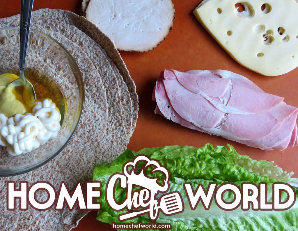 Ingredients-for-turkey-and-ham-wraps