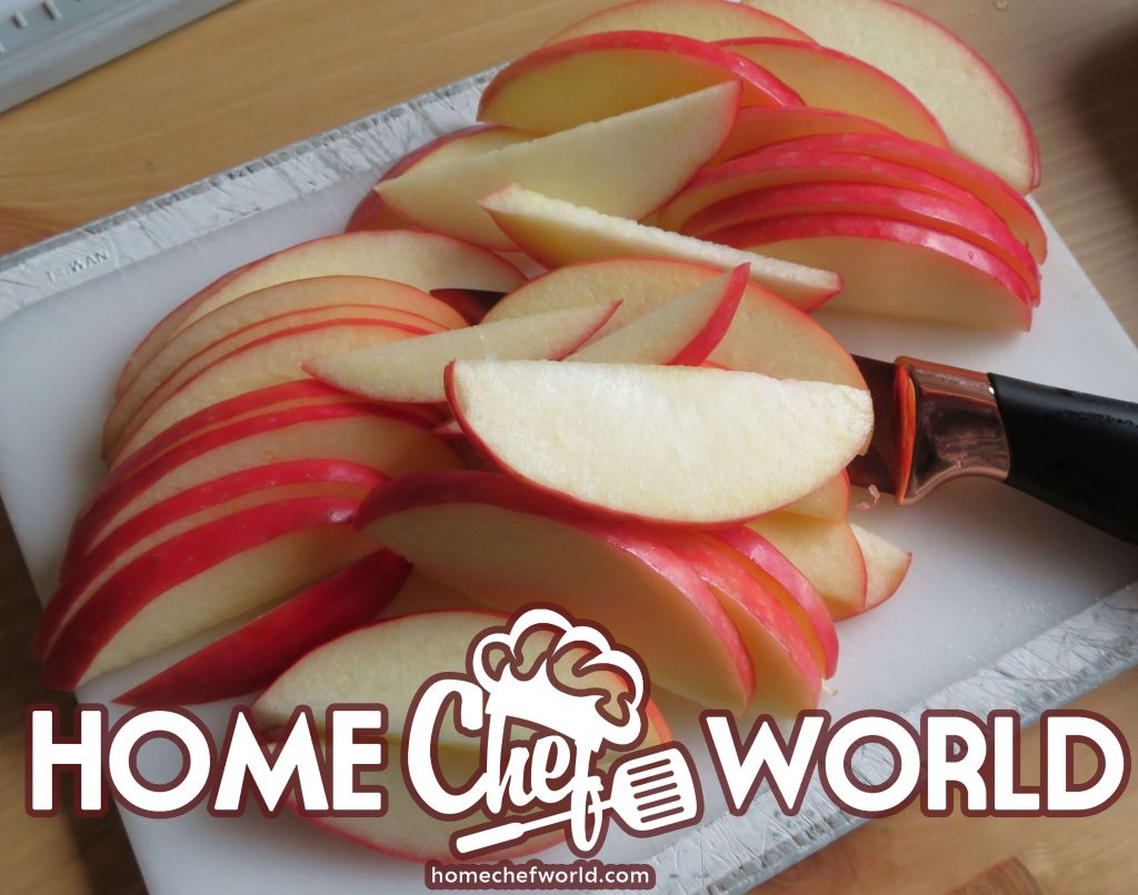 slicing the apples for pork and kraut supper