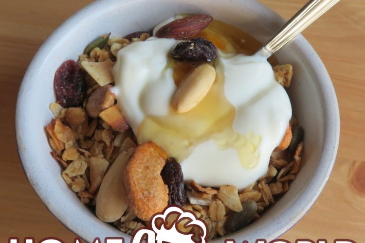 maple nut granola with yoghurt