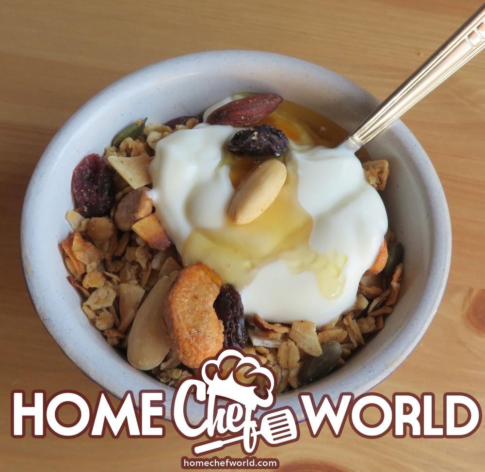maple nut granola with yoghurt