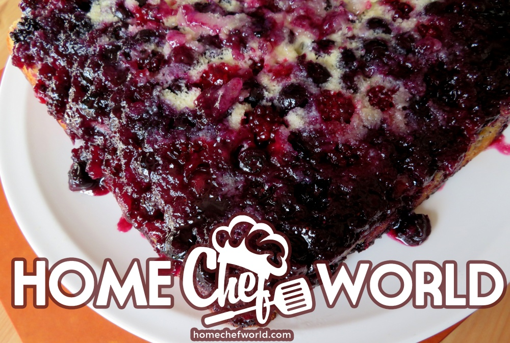 upside down cake with red berries