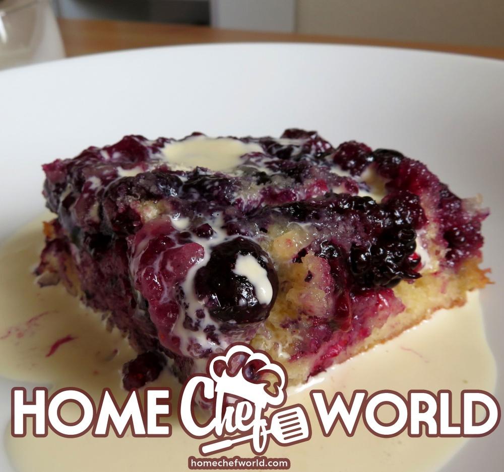 upside down cake with custard