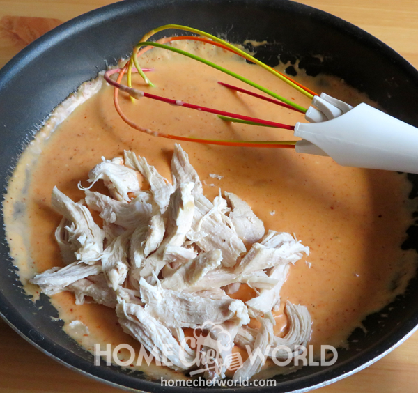 Adding Chicken to Buffalo Chicken Pasta
