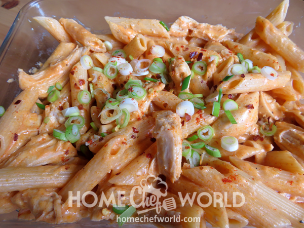 Buffalo Chicken Pasta Garnished and Ready to Serve