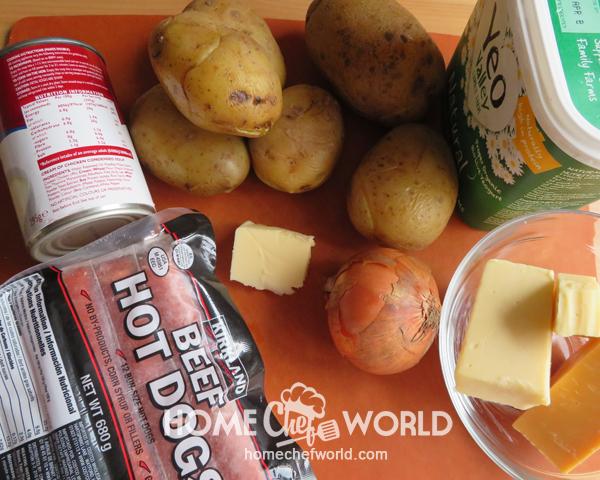 Ingredients for Frank & Potato Bake Recipe