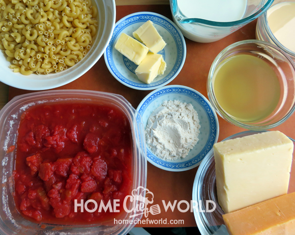 Ingredients for Macaroni and Cheese with tomatoes