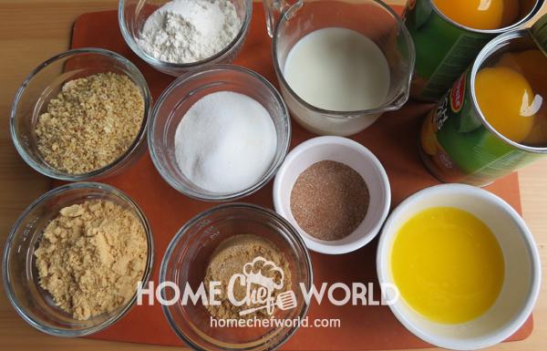 Ingredients for Praline Peach Cobbler Recipe