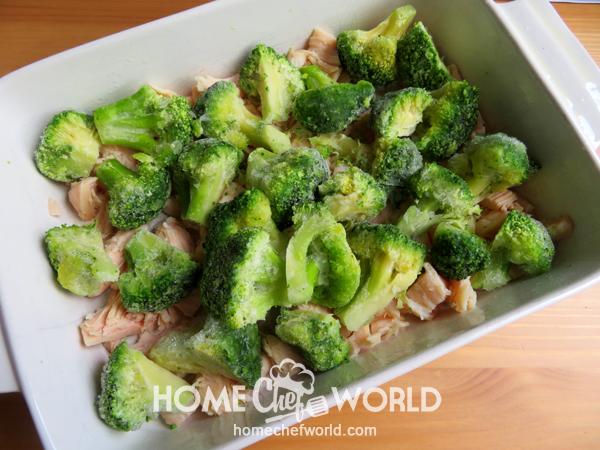 Layering on the Broccoli for Chicken Casserole Recipe