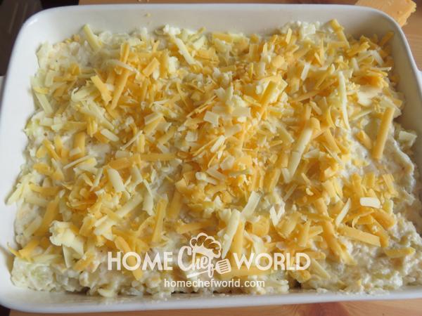 Potatoes in the Casserole Dish for Frank & Potato Bake Recipe