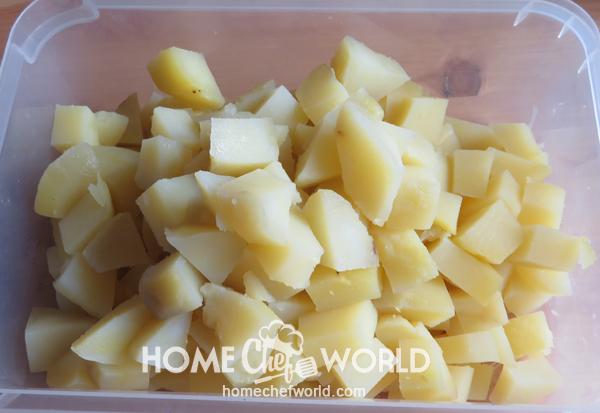 Potatoes Peeled and Chopped Prepared for Frank & Potato Bake Recipe