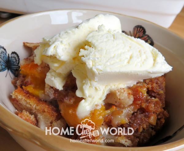 Praline Peach Cobbler Recipe Presentation