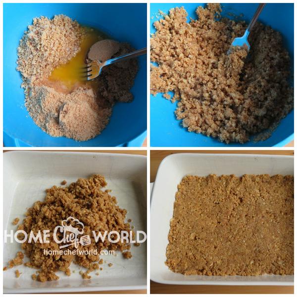 Preparing the Crust for Praline Peach Cobbler Recipe