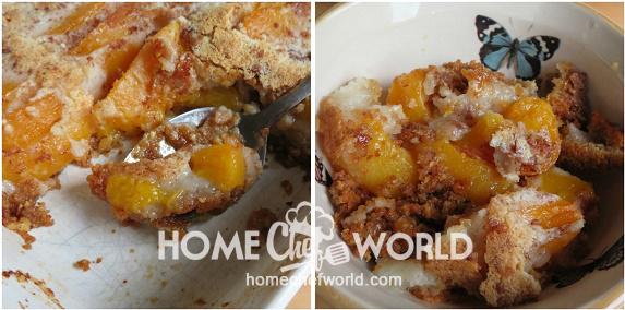 Serving Praline Peach Cobbler