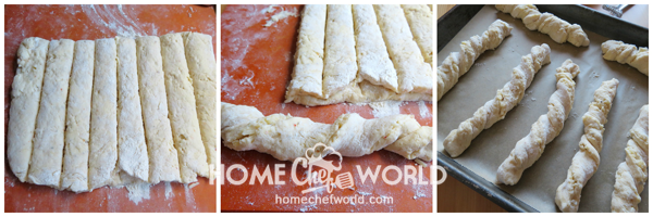 Shaping Dough Twisted Pizza Breadsticks Recipe