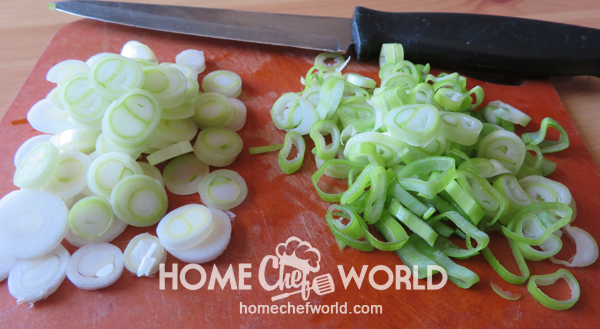 Sliced Scallions Divided Prepared for Classic Pork Fried Rice Recipe
