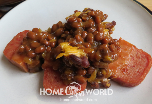 Spam & Bean Bake On the plate