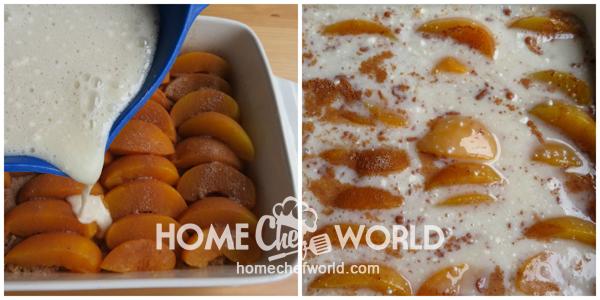 Topping the Peaches for Praline Peach Cobbler Recipe