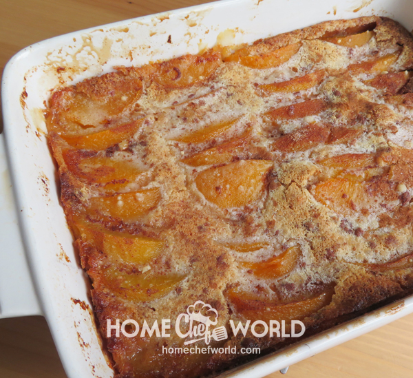 Out of the Oven Praline Peach Cobbler
