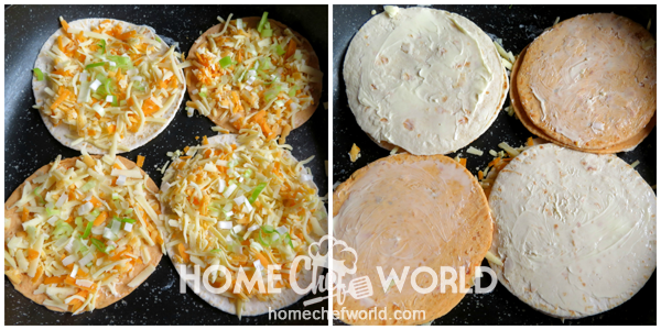 Adding Onions and Buttered Side Up on Tortilla