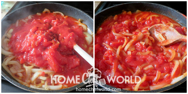 Adding Tomatoes to Onions for Swiss Steak Sauce