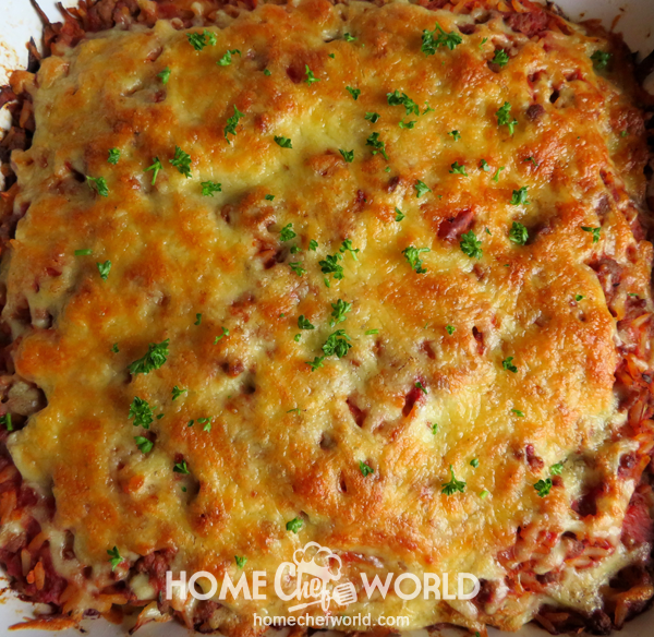 Cabbage Roll Casserole Out of the Oven