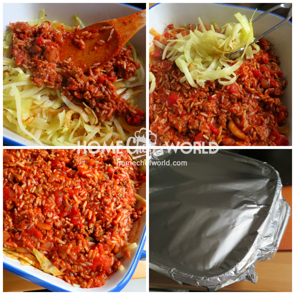 Cabbage Roll Casserole Ready for Oven