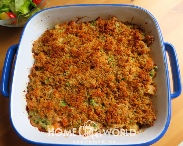 Chicken Noodle Casserole Out of the Oven