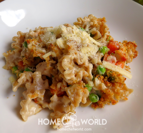 Chicken Noodle Casserole Recipe Sprinkled with Cheese
