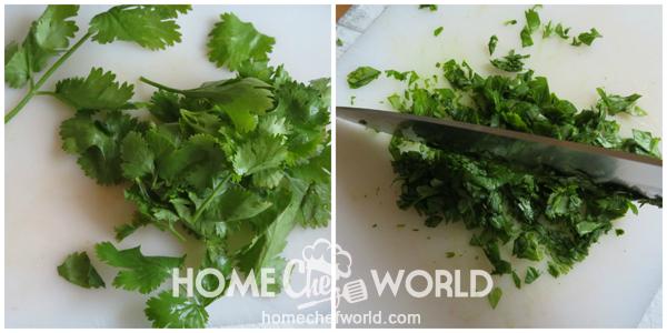 Chopping Cilantro for Avocado Guacamole Recipe