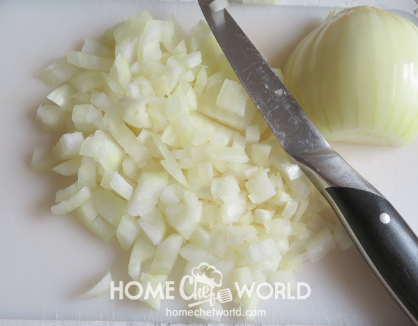 Chopping the Onion for Cabbage Roll Casserole