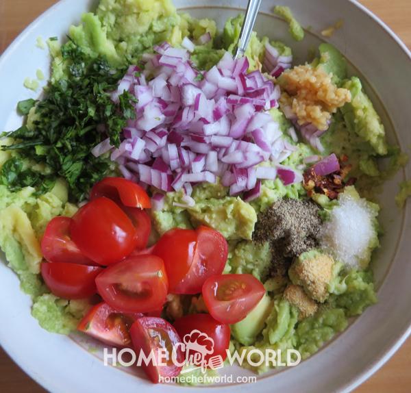 Ingredients for Avocado Guacamole Recipe in a Bowl