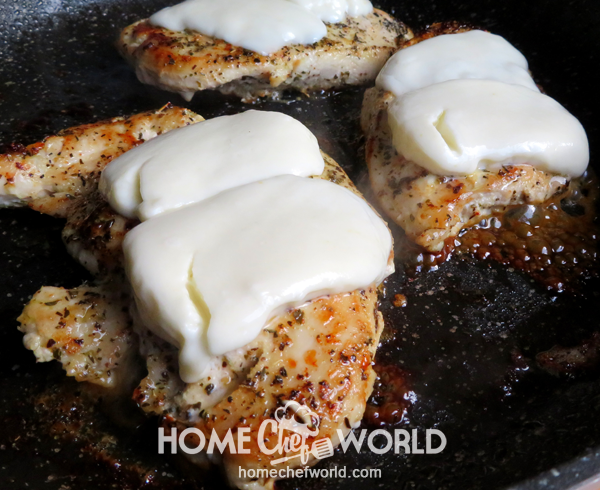 Melting Cheese on Chicken for Easy Chicken Margherita Recipe