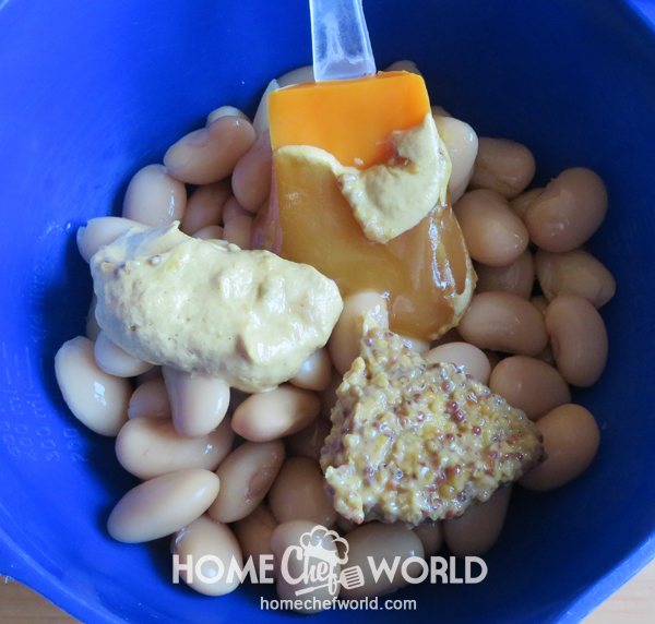 Mixing Ingredients for Lima Bean Recipe