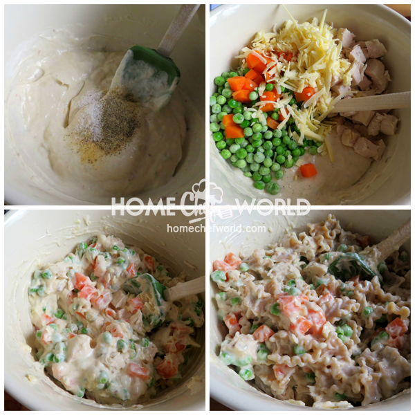 Mixing Together Chicken Casserole Ingredients