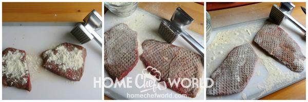Prepping the Steak for Swiss Steak Recipe