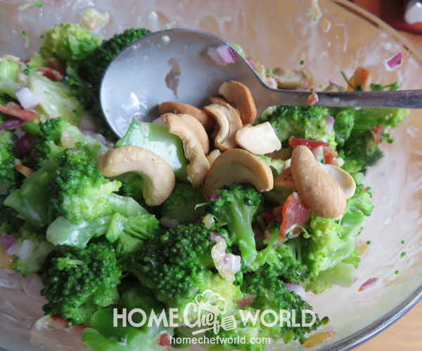 Adding Toasted Cashew Nuts for Broccoli Salad