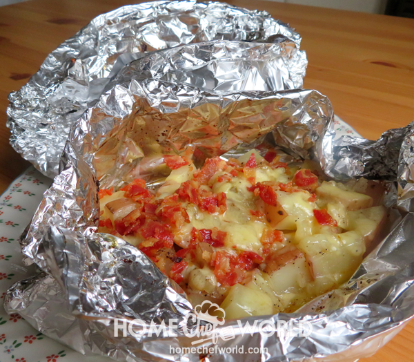 Campfire Potatoes in Foil on Plate