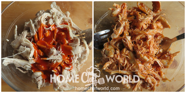 Coating Chicken with Sauce for Buffalo Chicken Wrap Recipe