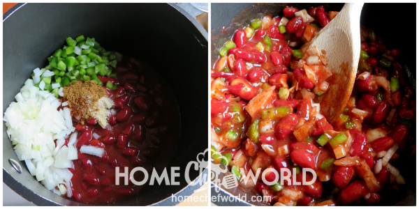 Combining Ingredients for Red Beans Recipe