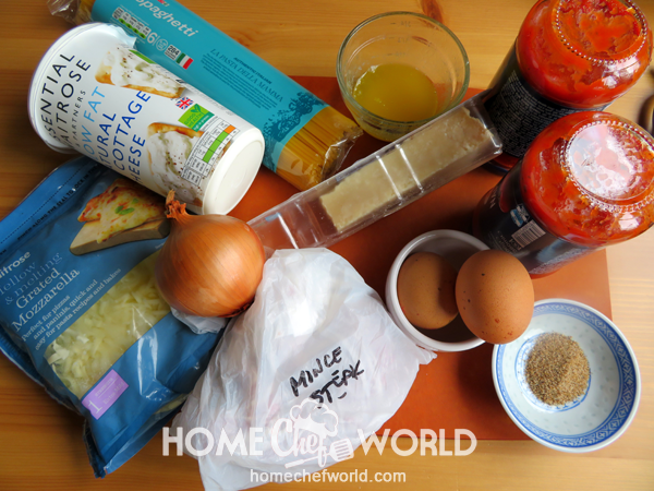 Ingredients for Baked Spaghetti Recipe