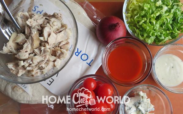 Ingredients for Buffalo Chicken Wrap Recipe
