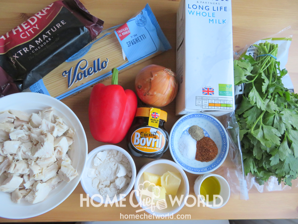 Ingredients for Cheesy Chicken Spaghetti