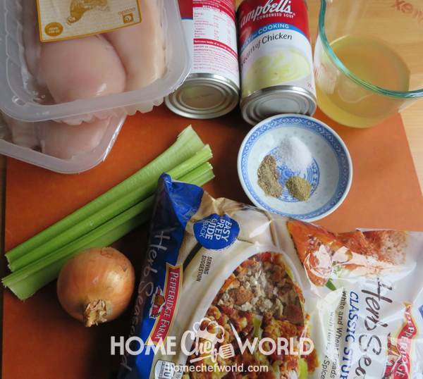 Ingredients for Crock Pot Chicken and Stuffing Recipe