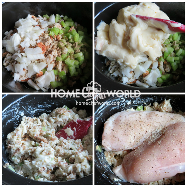 Layering Ingredients for Crock Pot Chicken & Stuffing Recipe in the Slow Cooker