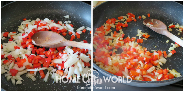 Sauteing Onions and Peppers for Cheesy Chicken Spaghetti
