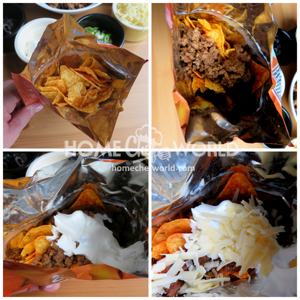 Assembling Walking Tacos Recipe