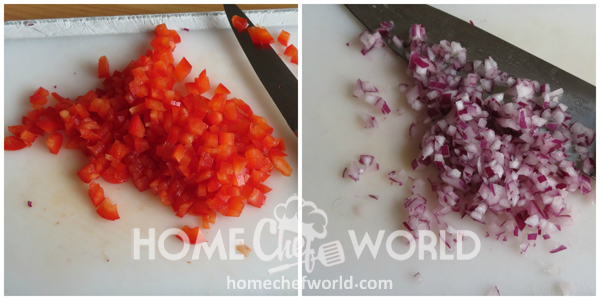 Chopping Vegetables for Creamy Pasta Salad