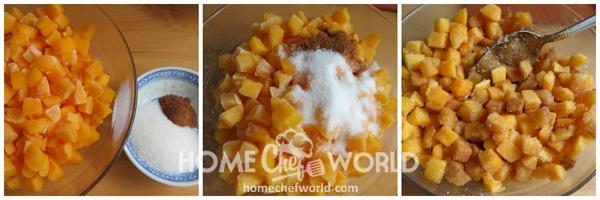 Preparing the Fruit for Peach Buckle Recipe