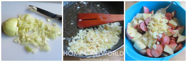 Prepping Onion for Sausage Green Bean & Potato Casserole